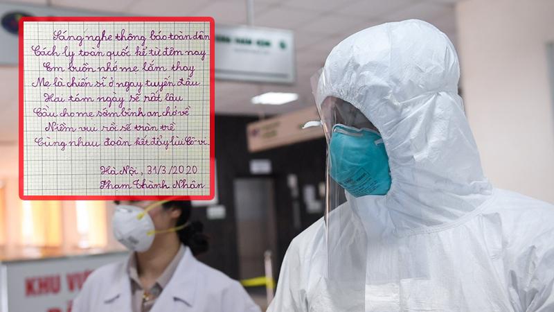 Cảm động bài thơ hai cậu bé sinh đôi viết tặng mẹ chiến đấu ở tuyến đầu tại viện Bạch Mai