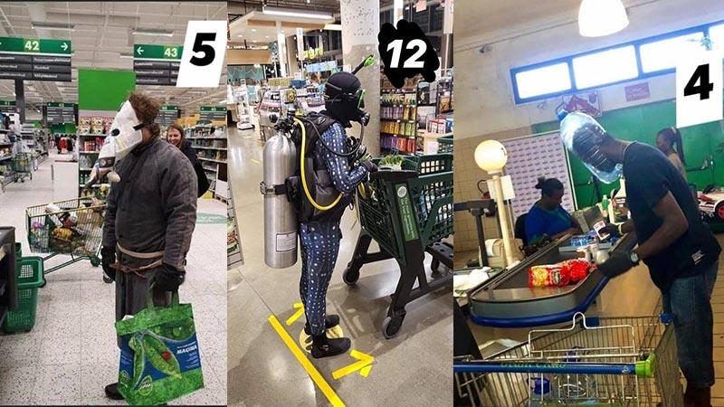 Thời trang đi siêu thị thời Covid-19: không mặt nạ phòng độc thì cũng phải có túi giấy đội đầu
