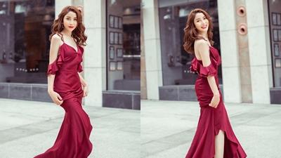 Á hậu Áo dài Việt Nam 2019 Angelploy diện váy gợi cảm xuống phố