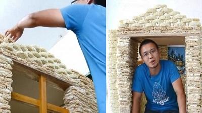 Ông bố sáng tạo: Dùng hơn 2.000 gói mì ăn liền tái chế thành ngôi nhà đồ chơi cho con sắp chào đời