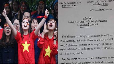 Trường học 'nhà người ta': Cho sinh viên nghỉ học để cổ vũ đội tuyển Olympic VN tại bán kết ASIAD 2018