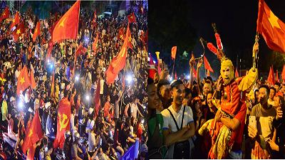 Hàng nghìn CĐV ùa về Hồ Gươm, 'quẩy hết nấc' ăn mừng chiến thắng của tuyển Việt Nam trước Malaysia