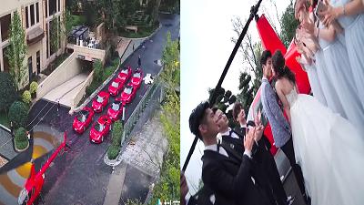 Đám cưới cặp Rich Kid: Rước dâu bằng trực thăng, 8 chiếc Ferrari đỏ xa hoa