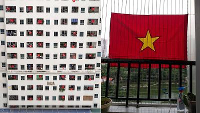 Người dân Hà Nội 'nhuộm đỏ' chung cư, treo cờ cổ vũ đội tuyển Việt Nam