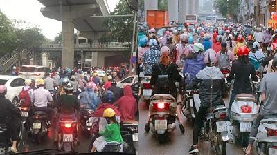 Hà Nội ngày đi làm sau lễ: Vẫn là 'đặc sản' tắc đường, người dân đứng 'chôn chân' dưới mưa