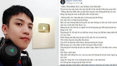 Vlogger Nguyễn Thành Nam gây tranh cãi khi lên tiếng chỉ trích hiện tượng 'ông bà làm YouTube'