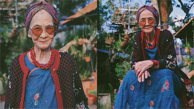 Ngưỡng mộ cụ bà 81 tuổi vẫn xì-tin làm mẫu ảnh cho cháu gái
