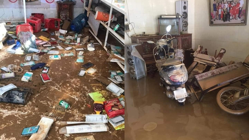 Quảng Bình: Nhà cửa tan hoang, đồ đạc hư hỏng nằm ngổn ngang trong bùn đất sau mưa lũ
