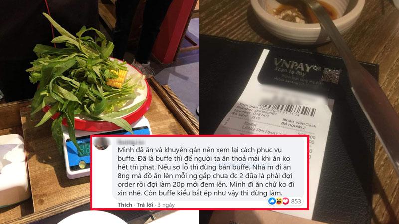 Nhà hàng buffet ở Đà Nẵng bị dân mạng 'tấn công' sau loạt lùm xùm phạt khách 200k vì để thừa 2.9 lạng rau