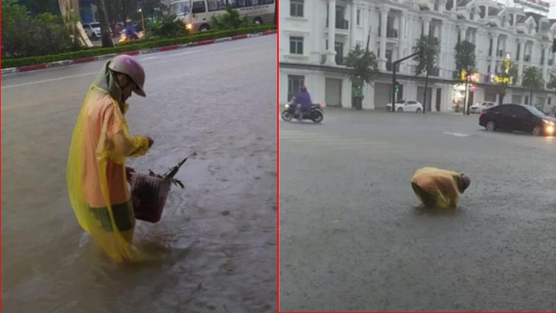 Một bạn trẻ ở Nghệ An đội mưa nhặt từng cọng rác ở ống cống để nước thoát nhanh hơn