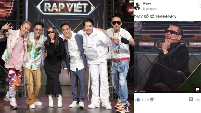 'Lão đại' Wowy vui mừng 'khoe' đã được thay đồ sau khi vòng Chinh phục của Rap Việt khép lại