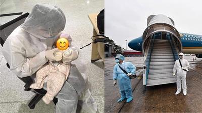 Xúc động hình ảnh nhân viên sân bay chăm sóc hành khách 2 tháng tuổi 'một mình' từ Hàn Quốc về Việt Nam