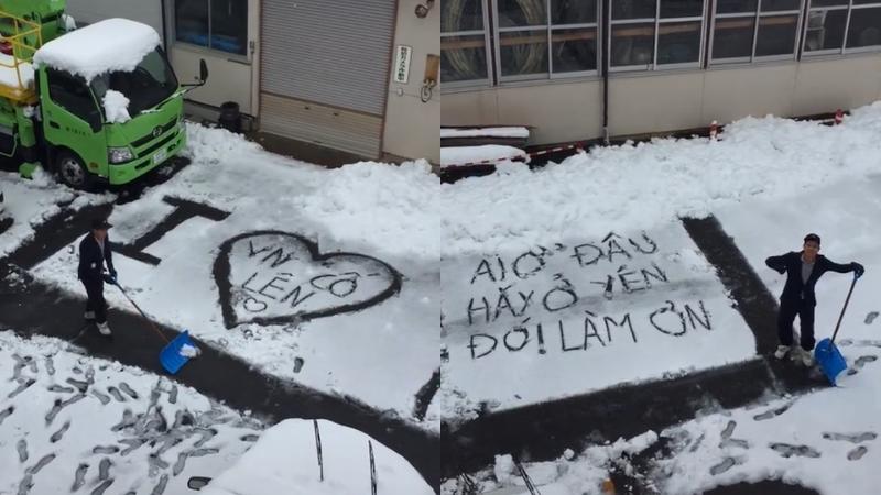 Chàng trai người Việt ở Nhật 'cào' tuyết, gửi lời động viên 'cố lên' đến đồng bào đang chống dịch