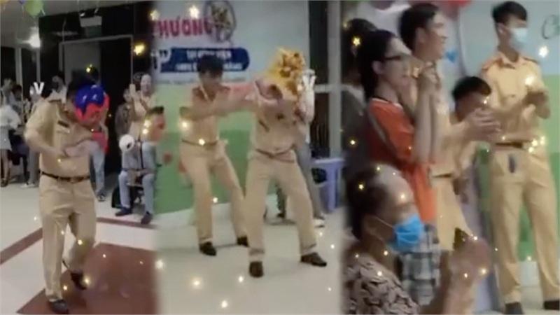 CSGT Đà Nẵng đóng vai ông địa, múa lân vui Tết Trung thu sớm cùng bệnh nhi ung thư