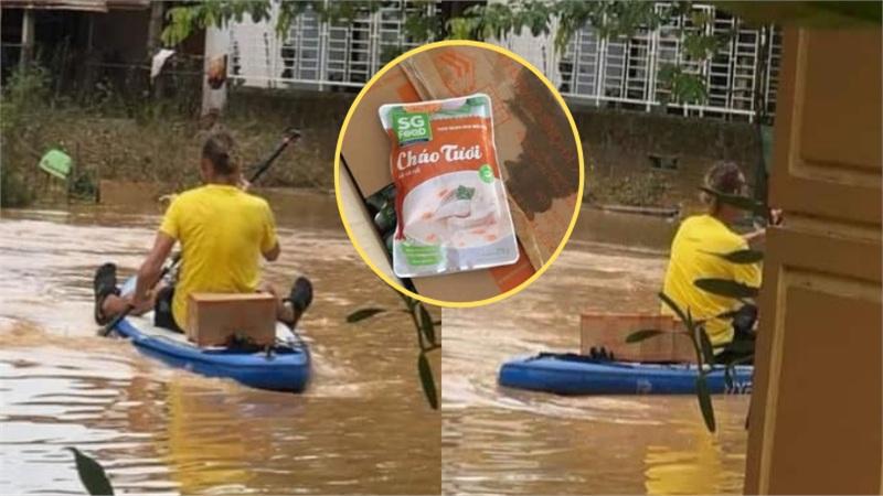 Chung tay cứu trợ người dân vùng lũ, 'anh Tây' tự chèo thuyền, tiếp tế lương thực