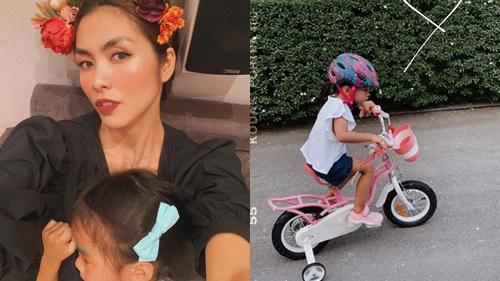 Khoảnh khắc hiếm hoi: Tăng Thanh Hà tiết lộ góc nghiêng cận mặt của con gái 3 tuổi