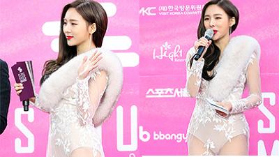 Bất chấp thời tiết âm 3 độ C, nữ MCSeoul Music Awardsvẫn diện trang phục xuyên thấu táo bạo