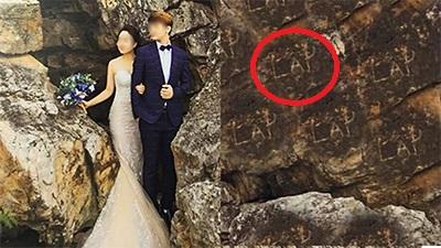 Chụp ảnh cưới xong xuôi, cô dâu tá hỏa phát hiện 'người lạ' chiếm sóng album để đời của mình