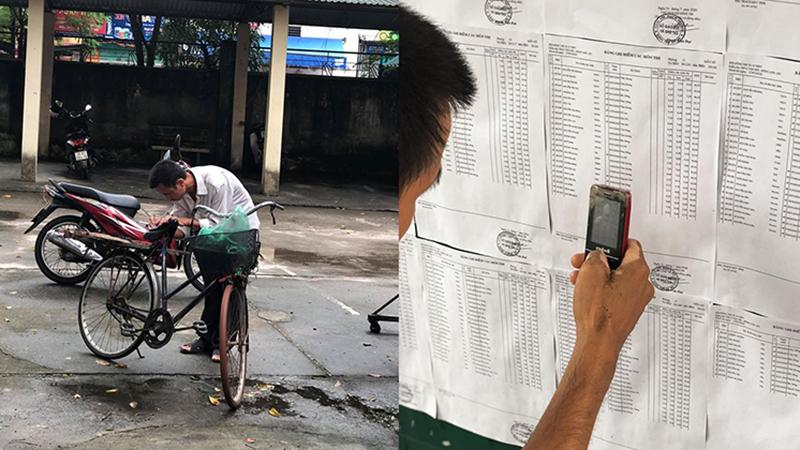 Cha nghèo đạp xe tới trường thi, loay hoay dùng điện thoại cục gạch cũ mèm chụp lại kết quả của con gái
