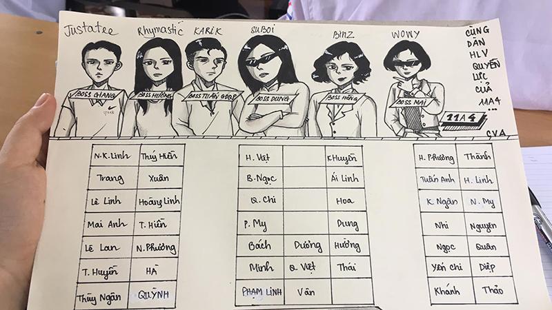 Sơ đồ lớp phiên bản Rap Việt, đảm bảo cực hiệu quả để làm dịu tình hình lớp mỗi khi kiểm tra bài cũ