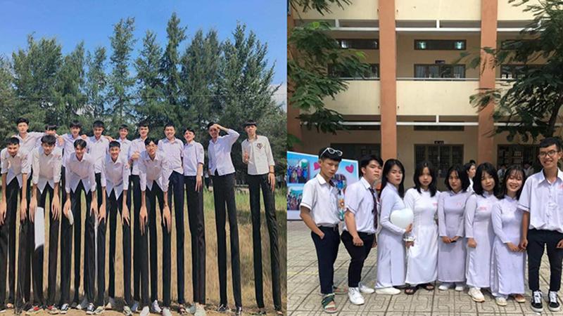 Không ai sáng tạo bằng học sinh nhà mình: Chỉ bóp méo ảnh chụp nhóm, kéo dài chân tới 2 mét mà cũng thành trend