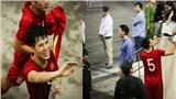 Đẹp và xúc động khoảnh khắc Văn Hậu, Đình Trọng tìm gia đình sau trận thắng Thái Lan