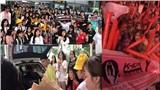 Fan Đà Nẵng đội mưa, xếp hàng dài cùng băng rôn, khẩu hiệu chờ bộ đội Jack - K-ICM biểu diễn