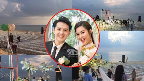 Lộ ảnh hiếm hoi về quang cảnh hôn lễ trên bãi biển của Ông Cao Thắng - Đông Nhi tại Phú Quốc