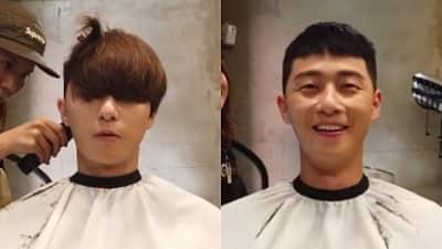 Park Seo Joon cố gượng cười khi phải cắt đi mái tóc bồng bềnh để đóng 'Tầng lớp Itaewon'