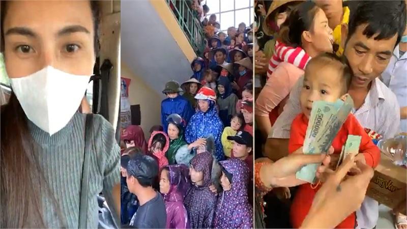 Xuất hiện tại khu tập trung dân ở Quảng Bình, Thủy Tiên tiếp tế tiền và nhu yếu phẩm, an ủi người dân vượt bão lũ
