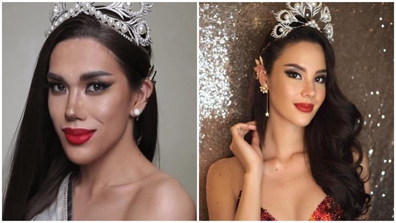 Mẫu phi giới tính 'biến hình' thành Hoa hậu Hoàn vũ 2018 Catriona Gray quá đỉnh, nhìn lướtqua cứ tưởng chị em sinh đôi