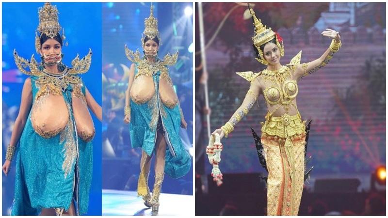 Trang phục 'phô phang' gây tranh cãi của thí sinh Hoa hậu Hoàn vũ Thái Lan 2020