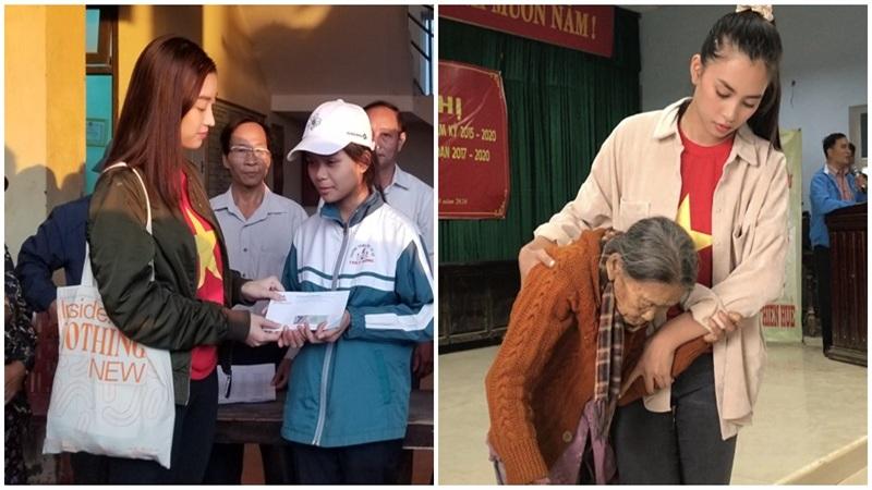 Đỗ Mỹ Linh cùng dàn Hoa hậu xúc động khi gặp gỡ gia đình có con nhỏ bị lũ cuốn trôi