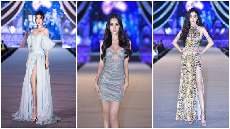 Tiểu Vy diện váy cắt xẻ khoe ngực đầy, Đỗ Mỹ Linh yêu kiều nhưng vẫn 'cạnh tranh' vòng 1 với đàn em