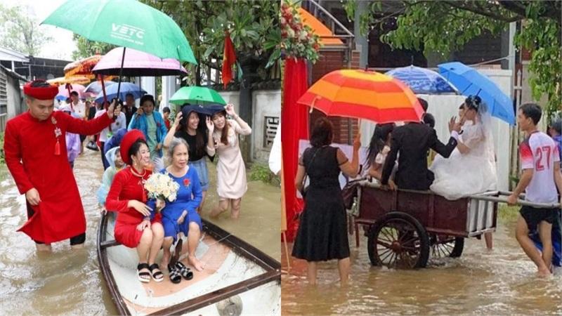 Đám cưới mùa lũ chuẩn tinh thần 'dân chơi sợ gì mưa rơi'