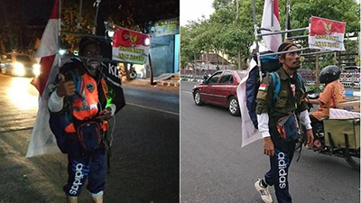 Người đàn ông đi giật lùi 800km để gặp Tổng thống Indonesia