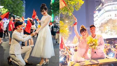 Chụp ảnh cưới đúng ngày Việt Nam vô địch SEA Games, cặp đôi được hàng nghìn người đi bão hò reo chúc mừng