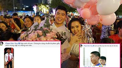 Duy Mạnh cầu hôn Quỳnh Anh, dàn cầu thủ ĐTVN 'troll không trượt phát nào', 'mặn' nhất là Đức Huy, mỗi comment đều 'bão like'
