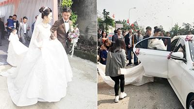 Chú rể Phan Văn Đức bẽn lẽn tới đón dâu, váy cô dâu Nhật Linh quá dài nên... chui vào xe không vừa