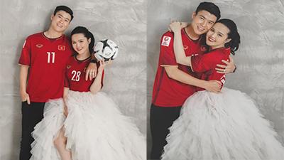 Chỉ còn 5 ngày nữa đến lễ thành hôn, vợ chồng cầu thủ Duy Mạnh tung ảnh cưới với phong cách 'lạ lùng' đậm chất em dâu đội bóng