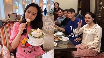 Quỳnh Anh vợ cầu thủ Duy Mạnh ngầm thông báo đã 'thoát vai' bà thím bằng bức ảnh tươi tắn đi ăn kem trong khách sạn hạng sang