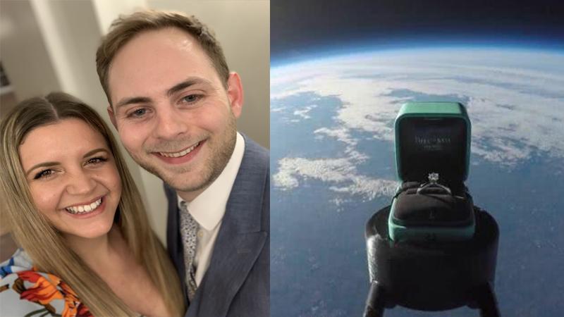 Chàng trai phóng nhẫn đính hôn vào không gian để cầu hôn bạn gái