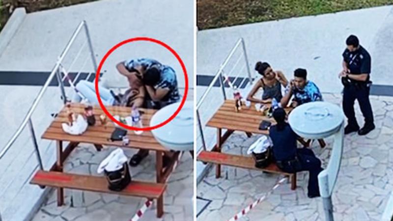 Đang cách ly xã hội, cặp đôi thản nhiên ôm hôn nơi công cộng bị cảnh sát thổi phạt