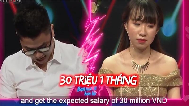 Đến show hẹn hò, nữ designer đưa ra thử thách lương 30 triệu/tháng cho đối phương, nhiều chàng nghe xong cũng toát mồ hôi