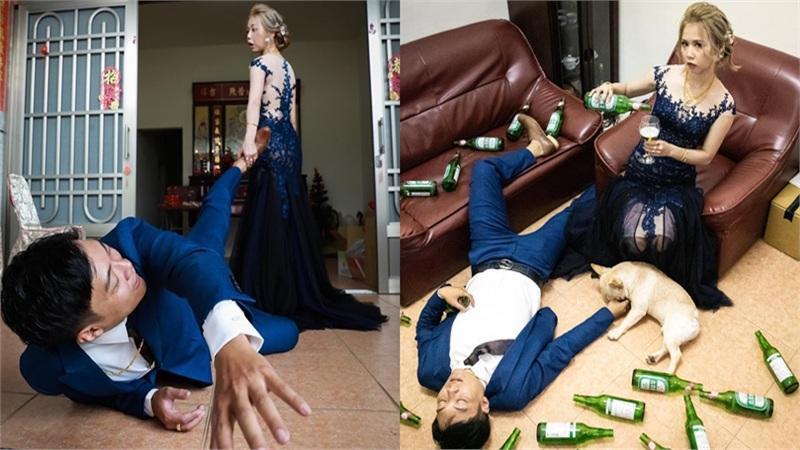 Bộ ảnh cưới siêu bá đạo 'gây sốt' MXH: Cô dâu thướt tha nhưng bạo lực và thích nhậu nhẹt, điên cuồng kéo chân chú rể vào nhà