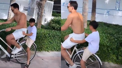 Hà Hồ khoe ảnh Kim Lý cởi trần đạp xe chở Subeo dạo chơi trong kỳ nghỉ cùng gia đình