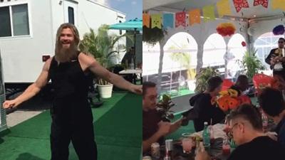 Mặc kệ đoàn phim 'Avengers' đang ăn trưa, Thor một mình hóa 'bánh bèo' lắc lư cực đáng yêu theo điệu nhạc