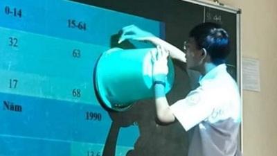 Quên đem compa, thầy giáo lấy xô nước để vẽ hình tròn khiến cả lớp 'cười bò'