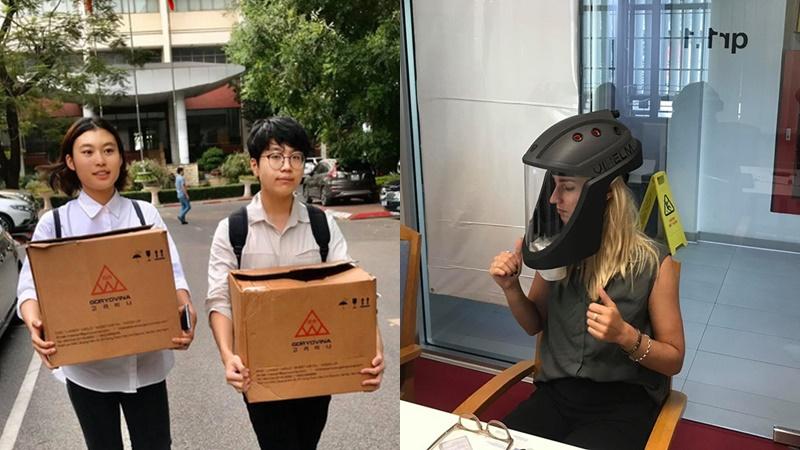Hai học sinh Việt Nam sáng chế mũ cách ly di động trong bối cảnh dịch bệnh Covid-19