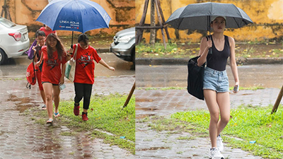 Chùm ảnh: Hà Nội mưa tầm tã, ngập lụt nhiều điểm, giới trẻ vẫn kéo nhau đi xem bóng rổ